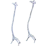 REDUCED Pair of  Silver Giraffe Champagne Whisk or Long Drink Stirrers