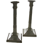 REDUCED Pair Sterling Silver Candlesticks Reeds