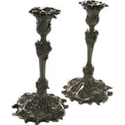 REDUCED Sterling Silver Candlesticks, Scroll and Vine motif