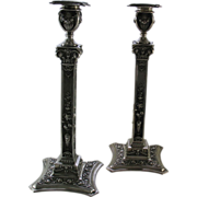 REDUCED Pair Sterling Silver Candlesticks, chased with floral motifs