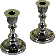 REDUCED Pair Sterling Silver Candlesticks Chased
