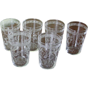 REDUCED Set of 6 Charming Liquor Large Glass