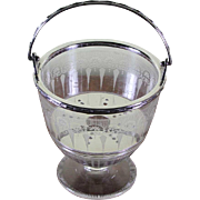 REDUCED Charming Small Silver & Glass Ice Pail with Swinging Handle