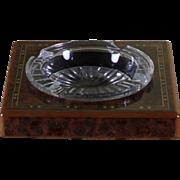 REDUCED Wonderful Crystal & Inlay Wood Cigar Ash Tray