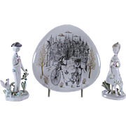 REDUCED Wonderful Wall or Cabinet Plate and Two Figurines Les Amoureux de Peynet (Peynet Lover