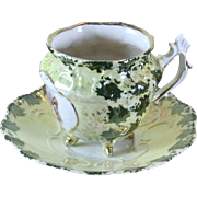 REDUCED Collector's Tea Cup & Saucer Green & Yellow with Cartouche Figures