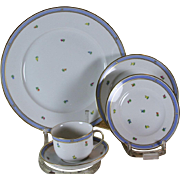 REDUCED Hand-Painted 5-piece Place-Setting, Biedermeir