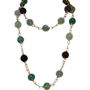REDUCED Natural Rose Carved Fluorite, Beaded Necklace, Plus Matching Earrings