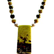 REDUCED Yellow,Black,Green, Natural Stone Necklace,Plus Earrings.