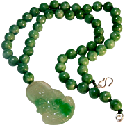 SOLD Carved Jade, Kwan-Yin Pendant, with Green Jade Beads, Necklace