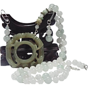 Celadon Nephrite Jade, Carved Double Dragon Archers Ring, Necklace Plus Earrings