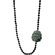 REDUCED Long Imperial Green Jade With Dragon Pendant Necklace, Plus Earrings