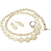 Nephrite Jade Graduated Necklace With Earrings