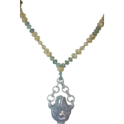 Chinese Carved Jade, Vase With Chain, Beaded Necklace