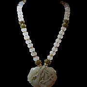 Very Old, Handcarved Nephrite Hetian Jade Pendant Necklace, Earrings