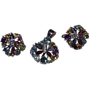 Natural Gemstone, Topaz,Amethyst,Citrine,Peridot, Matching Pendant With Earrings