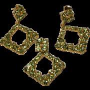 Natural Apple Green Peridot, Pendant And Earrings