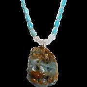 REDUCED Carved, Jade Pendant Necklace, Bracelet,Earrings, Set