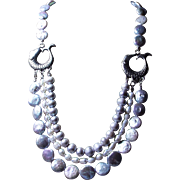 Gray and White, Triple Strand, Freshwater Pearl Necklace, Earrings