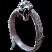 Rare, Masterpiece C 19th Century, Straits Chinese Silver Dragon Bracelet