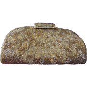 SALE All-Over Glass Beaded Clutch in Gold-Tone