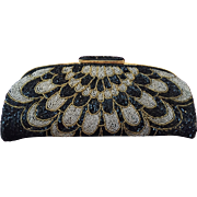 SALE All-Over Glass Beaded Clutch in Black, Silver-tone and Gold-tone