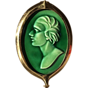 SOLD Arts & Crafts Door Knocker, Green Glazed Ceramic Tile with Brass Bezel