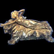 C Kauba Erotic Bronze Sculpture Nude on Bearskin
