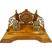 Superb Antique Mahogany Desktop Inkwell Stand , Writing Stand