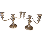 Pair of Silver Plated Candelabra , Candlesticks