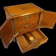 SOLD Antique Tiger Oak Cigarette , Cigar , Smokers Cabinet , Box