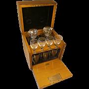 SOLD Antique Golden Oak Tantalus , Decanter & Glasses Set Box