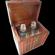 Mock Book Tantalus , Cut Decanter & Glass Set