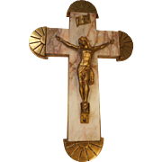 Antique Quality Crucifix , Marble & Brass