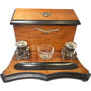 Antique Walnut Writing Stand , Inkwell Stand , Stationery Cabinet