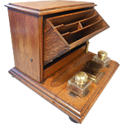 Antique Desktop Oak Writing Stand , Inkwell Stand , Stationery Cabinet