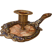 Enamelled Champleve Chamber Stick , Candlestick