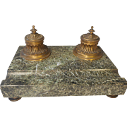 French Empire Marble base inkwell Stand