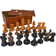 Antique Boxwood Chess Set