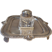 Silver Plate Inkwell Stand