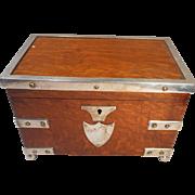 Antique Tiger Oak Silver Plated Tea Caddy