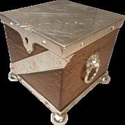 Antique Oak , Silver Plated Tea Caddy