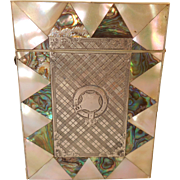 Antique Mother of Pearl , Abalone & Silver Card Case