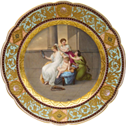 Royal Vienna Style Plate by Royal Rudolstadt - 'Penelope Dressing Herself for the Feast'