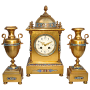 Late 19th C. French Champleve and Bronze 3 Pc. Clock Set