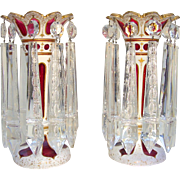 19th C. Pair of Bohemian Ruby-Red Lusters