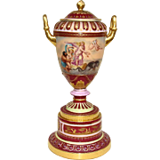 Circa 1900 Royal Vienna Covered Urn on Stand