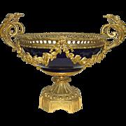 Large Ormolu Mounted French Cobalt Porcelain Centerpiece Bowl c. 1880 - 1910