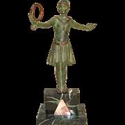 Art Deco Period Bronze Dancer with Hoop Signed GRISSARD