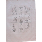 """SALE 1802 Original Copper Engraving """"Ancient Reliefs"""" from Napoleons Travels to Egyp"""